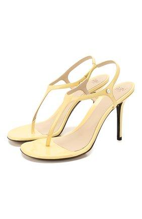 Женские кожаные босоножки roxy ALEVI желтого цвета, арт. L20SD004.Q.0004208   Фото 1