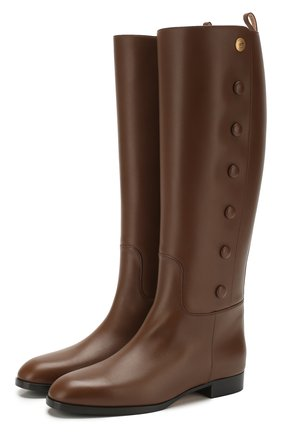 Женские кожаные сапоги GUCCI коричневого цвета, арт. 598170/A3N00 | Фото 1