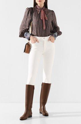 Женские кожаные сапоги GUCCI коричневого цвета, арт. 598170/A3N00 | Фото 2