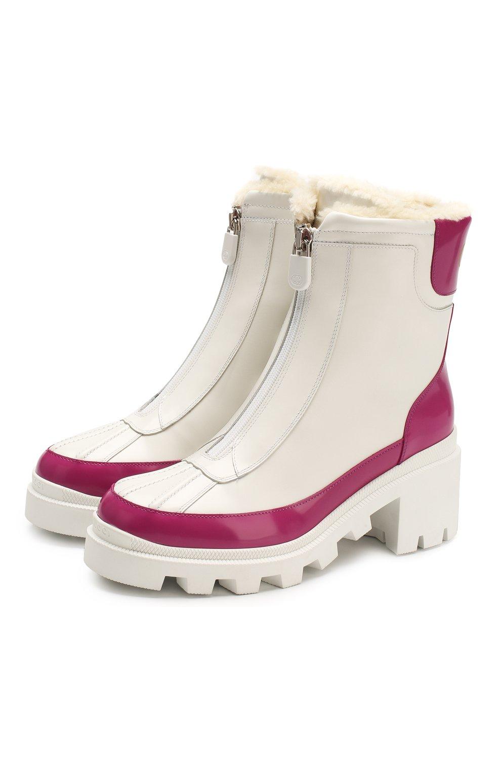 Женские кожаные ботинки GUCCI белого цвета, арт. 610024/DKSF0 | Фото 1