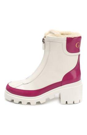 Женские кожаные ботинки GUCCI белого цвета, арт. 610024/DKSF0 | Фото 3