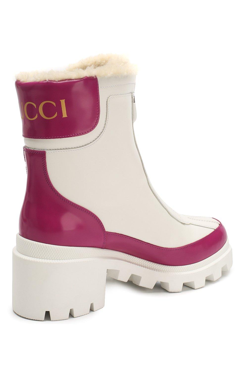 Женские кожаные ботинки GUCCI белого цвета, арт. 610024/DKSF0 | Фото 4