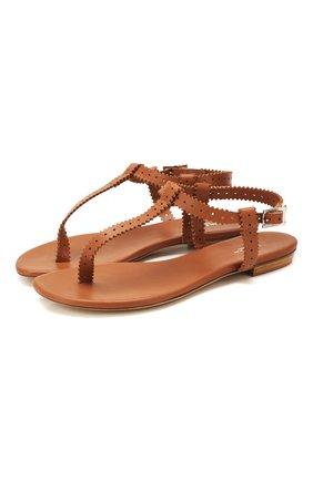 Женские кожаные сандалии KITON коричневого цвета, арт. D49804X08S60   Фото 1