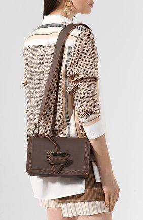 Женская сумка barcelona LOEWE серого цвета, арт. 303.12.W89 | Фото 2 (Ремень/цепочка: На ремешке; Размер: small; Материал: Натуральная кожа; Сумки-технические: Сумки через плечо)