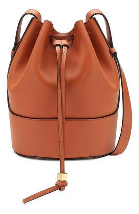 Женская сумка balloon small LOEWE светло-коричневого цвета, арт. 326.75AC31   Фото 6 (Сумки-технические: Сумки через плечо; Материал: Натуральная кожа; Ремень/цепочка: На ремешке; Размер: small)