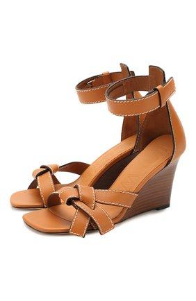 Женские кожаные босоножки LOEWE светло-коричневого цвета, арт. 453.10.637 | Фото 1