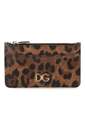 Женский кожаный футляр для кредитных карт DOLCE & GABBANA леопардового цвета, арт. BI1032/AI915 | Фото 1