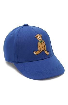 Детская бейсболка MINI RODINI синего цвета, арт. 20265101 | Фото 1