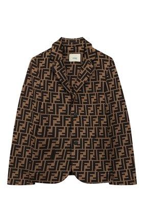 Детский хлопковый пиджак FENDI коричневого цвета, арт. JMA184/A6A6/3A-6A | Фото 1 (Материал внешний: Хлопок, Синтетический материал; Рукава: Длинные; Кросс-КТ: пиджак; Ростовка одежда: 5 лет | 110 см, 6 лет | 116 см)