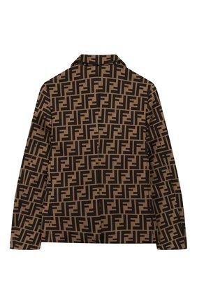 Детский хлопковый пиджак FENDI коричневого цвета, арт. JMA184/A6A6/3A-6A | Фото 2 (Материал внешний: Хлопок, Синтетический материал; Рукава: Длинные; Кросс-КТ: пиджак; Ростовка одежда: 5 лет | 110 см, 6 лет | 116 см)