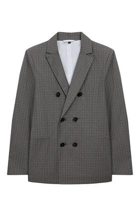 Детский хлопковый пиджак EMPORIO ARMANI серого цвета, арт. 3H4GJ4/4N3KZ   Фото 1