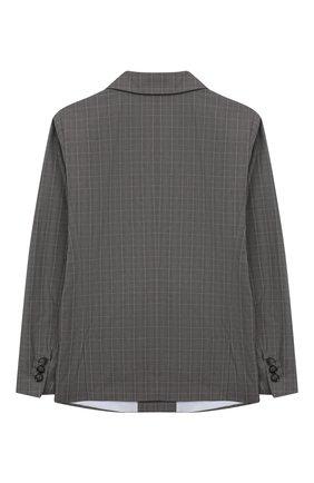 Детский хлопковый пиджак EMPORIO ARMANI серого цвета, арт. 3H4GJ4/4N3KZ   Фото 2