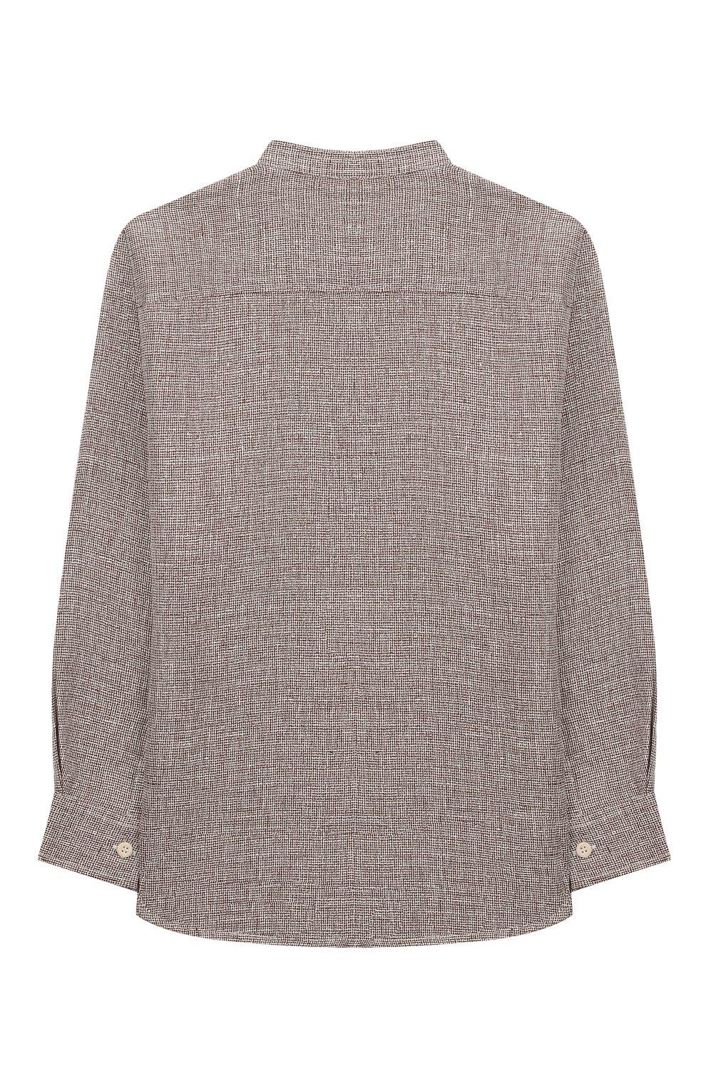Детская льняная рубашка IL GUFO бежевого цвета, арт. P20CL016L0011/5A-8A   Фото 2 (Рукава: Длинные; Случай: Повседневный; Материал внешний: Лен; Ростовка одежда: 5 лет   110 см)