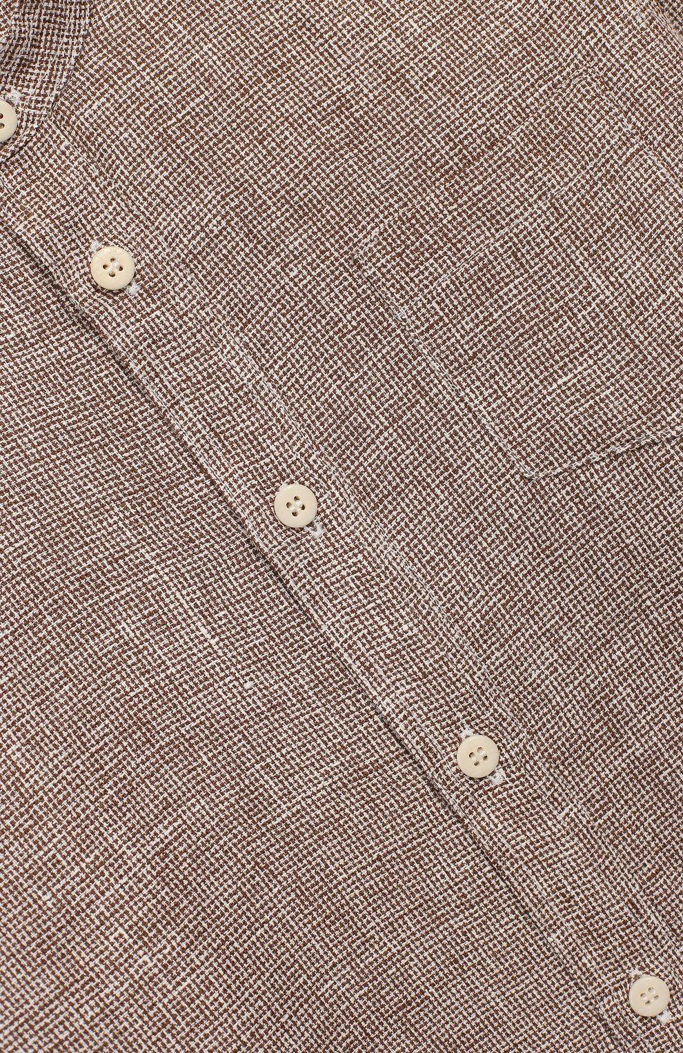 Детская льняная рубашка IL GUFO бежевого цвета, арт. P20CL016L0011/5A-8A   Фото 3 (Рукава: Длинные; Случай: Повседневный; Материал внешний: Лен; Ростовка одежда: 5 лет   110 см)