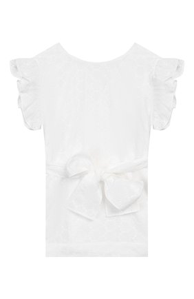 Детское хлопковая блузка IL GUFO белого цвета, арт. P20CC068C5041/5A-8A | Фото 2