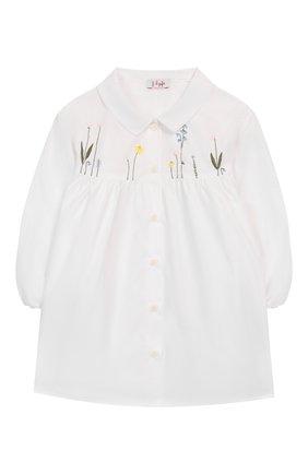 Детское хлопковая блузка IL GUFO белого цвета, арт. P20CC062C0048/2A-4A | Фото 1