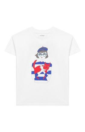Детская хлопковая футболка SONIA RYKIEL ENFANT белого цвета, арт. 20S1TS31 | Фото 1
