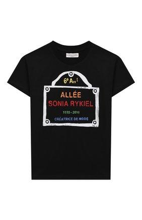 Детская хлопковая футболка SONIA RYKIEL ENFANT черного цвета, арт. 20S1TS09 | Фото 1