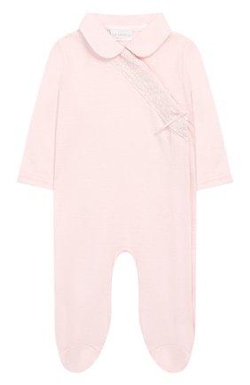 Детский хлопковый комбинезон LA PERLA розового цвета, арт. 73073 | Фото 1