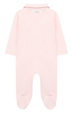 Детский хлопковый комбинезон LA PERLA розового цвета, арт. 73073 | Фото 2