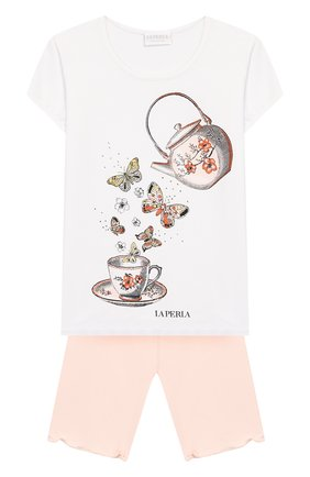 Детская пижама LA PERLA розового цвета, арт. 71211/2A-6A | Фото 1