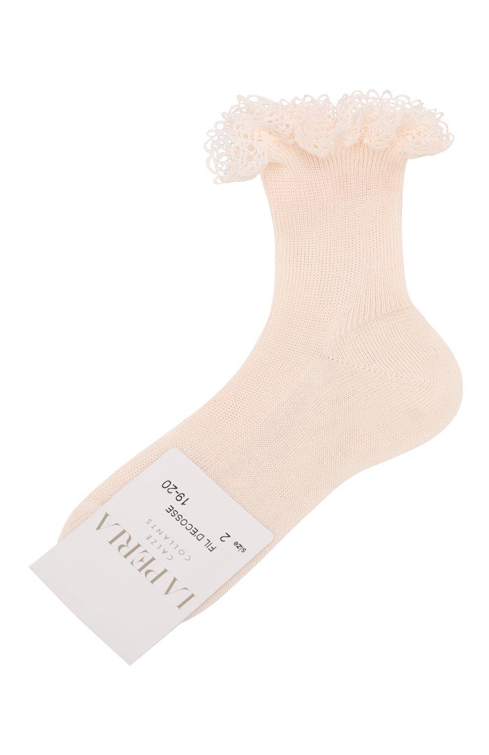 Детские хлопковые носки LA PERLA розового цвета, арт. 43455/17-22 | Фото 1