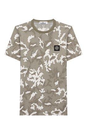 Детская хлопковая футболка STONE ISLAND хаки цвета, арт. 721621650/14 | Фото 1