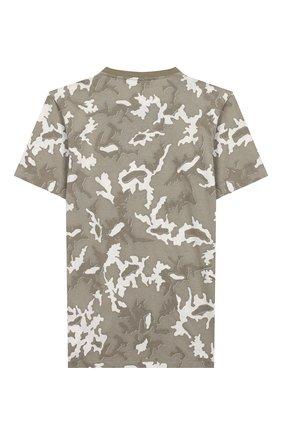 Детская хлопковая футболка STONE ISLAND хаки цвета, арт. 721621650/14 | Фото 2