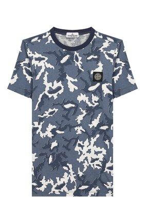 Детская хлопковая футболка STONE ISLAND темно-синего цвета, арт. 721621650/10-12 | Фото 1