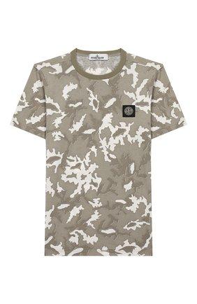 Детская хлопковая футболка STONE ISLAND хаки цвета, арт. 721621650/6-8 | Фото 1