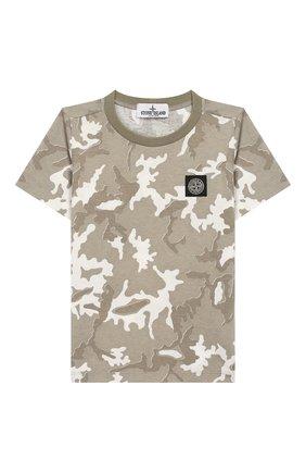 Детская хлопковая футболка STONE ISLAND хаки цвета, арт. 721621650/4 | Фото 1