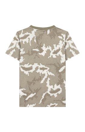 Детская хлопковая футболка STONE ISLAND хаки цвета, арт. 721621650/4 | Фото 2