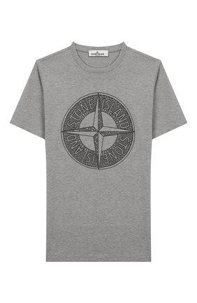 Детская хлопковая футболка STONE ISLAND серого цвета, арт. 721621059/14   Фото 1