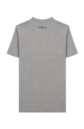 Детская хлопковая футболка STONE ISLAND серого цвета, арт. 721621059/14   Фото 2