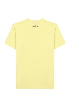 Детская хлопковая футболка STONE ISLAND желтого цвета, арт. 721621059/14 | Фото 2