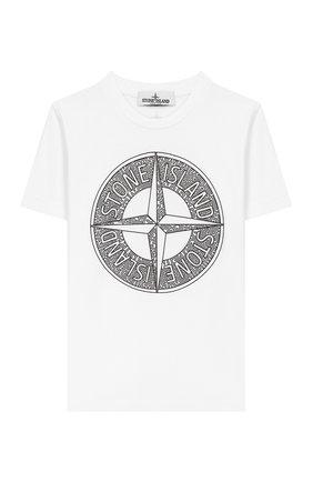 Детская хлопковая футболка STONE ISLAND белого цвета, арт. 721621059/10-12 | Фото 1