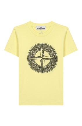 Детская хлопковая футболка STONE ISLAND желтого цвета, арт. 721621059/10-12 | Фото 1