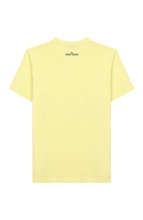 Детская хлопковая футболка STONE ISLAND желтого цвета, арт. 721621059/10-12 | Фото 2