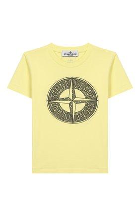 Детская хлопковая футболка STONE ISLAND желтого цвета, арт. 721621059/6-8 | Фото 1