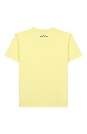 Детская хлопковая футболка STONE ISLAND желтого цвета, арт. 721621059/6-8 | Фото 2