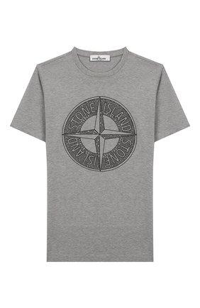 Детская хлопковая футболка STONE ISLAND серого цвета, арт. 721621059/6-8 | Фото 1