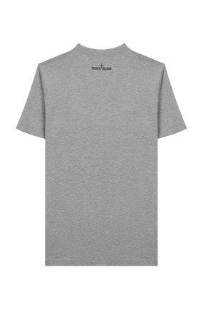 Детская хлопковая футболка STONE ISLAND серого цвета, арт. 721621059/6-8 | Фото 2