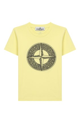 Детская хлопковая футболка STONE ISLAND желтого цвета, арт. 721621059/4 | Фото 1