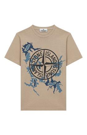 Детская хлопковая футболка STONE ISLAND бежевого цвета, арт. 721621056/10-12 | Фото 1