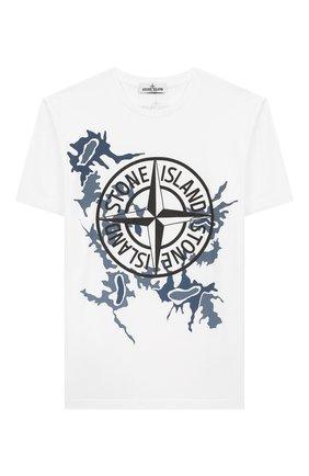 Детская хлопковая футболка STONE ISLAND белого цвета, арт. 721621056/10-12 | Фото 1