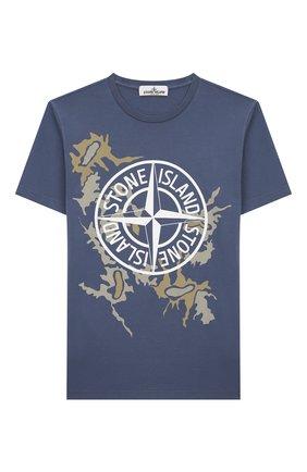 Детская хлопковая футболка STONE ISLAND синего цвета, арт. 721621056/10-12 | Фото 1