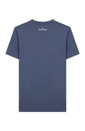 Детская хлопковая футболка STONE ISLAND синего цвета, арт. 721621056/10-12 | Фото 2