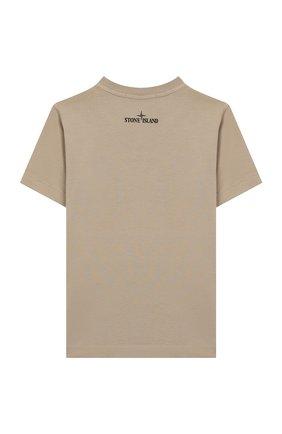 Детская хлопковая футболка STONE ISLAND бежевого цвета, арт. 721621056/6-8 | Фото 2