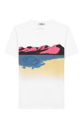 Детская хлопковая футболка STONE ISLAND белого цвета, арт. 721621055/10-12 | Фото 1