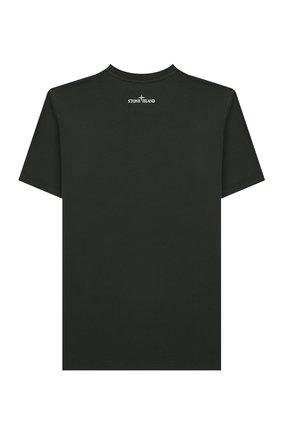 Детская хлопковая футболка STONE ISLAND темно-зеленого цвета, арт. 721621055/10-12 | Фото 2